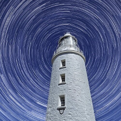 Star Trails at Bruny Island Lighthouse<br/>Photo Credit: Peter Brindley