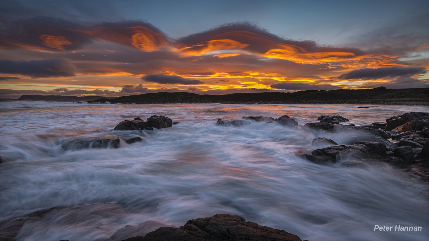 Amazing Cloudy Bay Orange Clouds Sunset