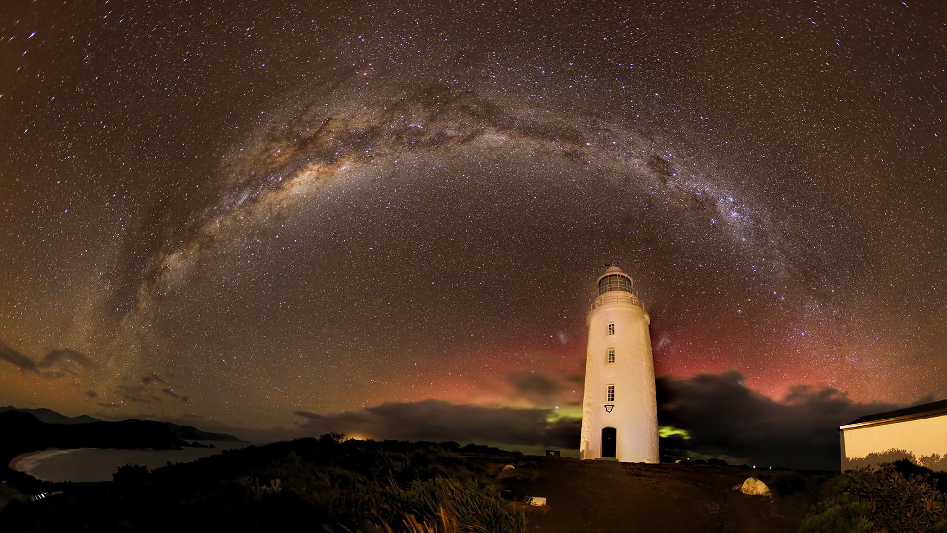 Panoramic photo of Milky Way and Cape Bruny Lighthouse by Rod Hartvigsen